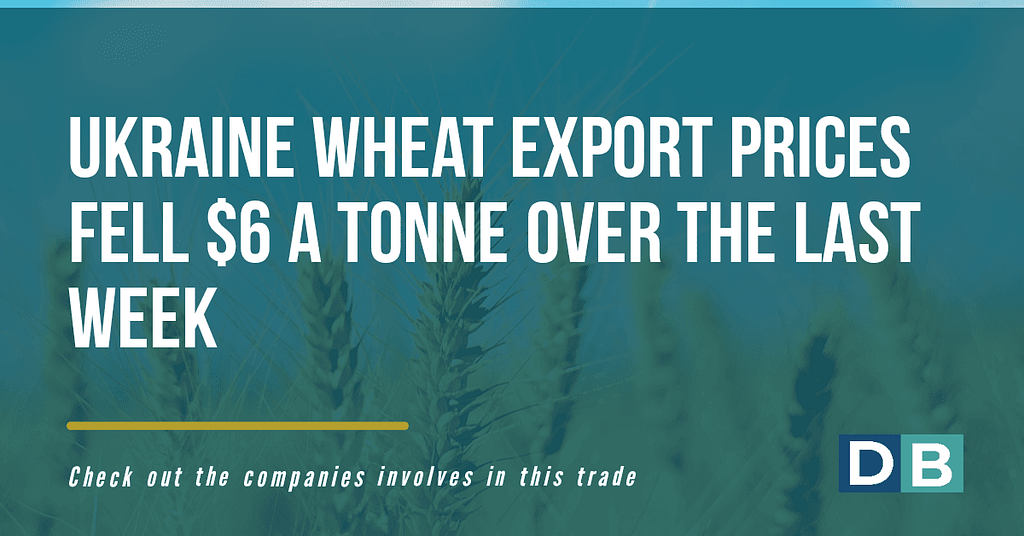 Ukraine wheat export prices fell $6 a tonne over the last week