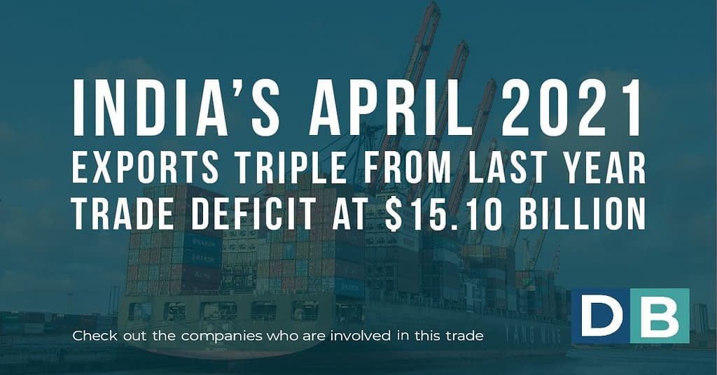 India's April 2021 exports triple from last year; trade deficit at $15.10 billion